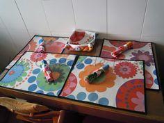 Las Cositas de Teresa: Manteles individuales, servilletas y panera de mesa para Marta