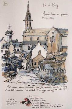 """""""Ile de Batz """" Finistère - par YAL (Yann Lesacher) illustrateur/peintre qui parcourt la Bretagne pour la croquer. A publié """"Une Bretagne par les contours""""."""