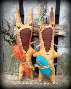 Set of 2 Primitive Folk Art Babbit Rabbit Easter Dolls--Bunny--Spring--Handcrafted, FAAP, Hafair Team by MeadowForkPrims on Etsy