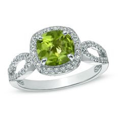 7.0mm Cushion-Cut Peridot and Lab-Created White Sapphire Ring in Sterling Silver