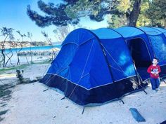 Beach camping in Split, Croatia in Vango Rivendale. From post Lake Bled Slovenia from post 6 Days and 6 Countries with 10 Kids: A Round-Up Of Our Travels This Week | Larger Family Life