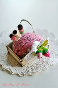 This adorable pin cushion is made with Pei Li's beautiful and chic french rustic tray.