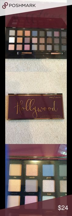 Profusion Hollywood eyeshadow palette Beautiful set of Profusion Hollywood 24 color eyeshadow palette, comes with a full size professional brush.  Great selection of earth tone colors, and vivid base colors.  Brand new, sealed. Profusion Makeup Eyeshadow