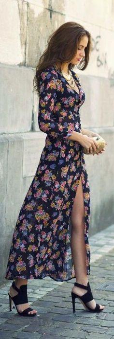 #street #style flower print maxi @wachabuy