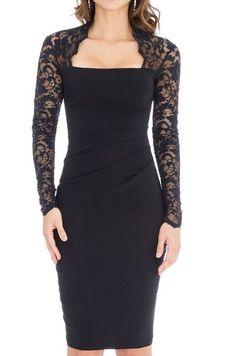 Vestido combinado encaje fruncido lateral negro -mayorista de moda mujer-mayorista de ropa mujer-ropas mujer al por mayor-ropa hecha en Europa-vestido fiesta al por mayor-vestido ceremonia al por mayor