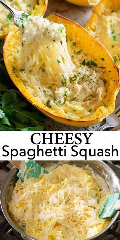 Cheesy Spaghetti Squash Recipe - it's my favorite thing to make spaghetti squash! It's like alfredo or macaroni and cheese but with a veggie instead of pasta. #spaghettisquash #fall #recipe #alfredo #macandcheese