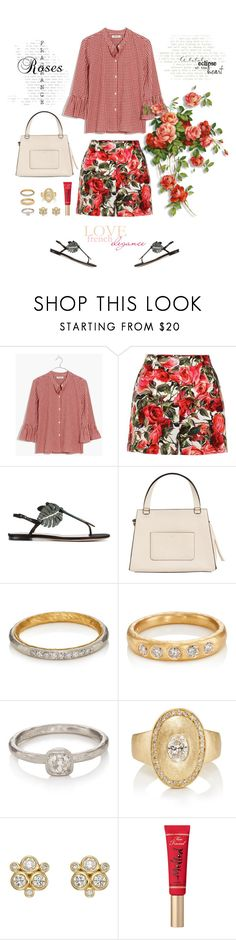 """Roses and Gingham"" by musicfriend1 on Polyvore featuring Madewell, Dolce&Gabbana, Valentino, CÉLINE, Malcolm Betts, Temple St. Clair and Too Faced Cosmetics"