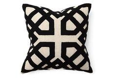 Khwai 18x18 Cotton Pillow, Black on OneKingsLane.com  This is sublime.