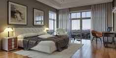 With a tufted headboard and matching armchair, this spacious bedroom is fit for royalty.