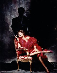 Loulou de la Falaise (with YSL in the shadows) - photo by Victor Skrebneski Yves Saint Laurent, Christian Dior, Women Smoking, Glamour, Photo Essay, Sensual, Fashion History, Lady In Red, Style Icons