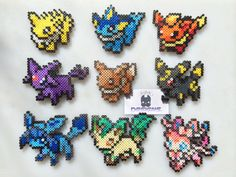 Pokemon Eevee Eeveelutions Sylveon Perler Bead Art YOU CHOOSE by SDKD, $6.00; magnets, hair clips, pins!