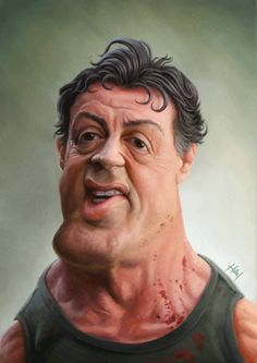 Sylvester Sly Stallone by Tiago Hoisel, caricature cartoon portrait drawing face stylized