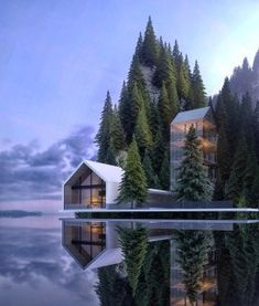 Alexander Nerovnya Architecture by the Lake - beautiful places - Arquitectura Architecture Design, Cultural Architecture, Amazing Architecture, Contemporary Architecture, Contemporary Houses, University Architecture, Contemporary Design, Architecture Interiors, Building Architecture