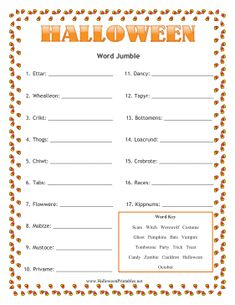 image regarding Free Printable Halloween Games for Adults identified as Halloween Bash Game titles for youngsters and grown ups. Slide