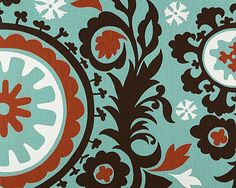 Home Dec Fabric Yardage - Suzani Print - Blue, Brown and Amber by Premier Prints 1 Yard/etsy