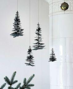 Juletræer på miljøpapir. 3D julepynt fra Fabulous Goose