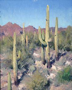 """Queen Valley Saguaros,"" by Matt Smith, oil, 10 x 8 in."