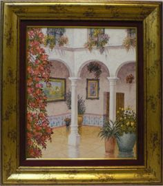 Aguilar : Courtyard. Medium: Oil on wood Measurements (cm): 76x67 Canvas measurements (cm): 55x46 Interior frame: Yes. Marvellous work painted in oils with impressionist lines, full of light and colour, a faithful reflection of the atmospheric ambiance of Andalusian courtyards.  $ 594.18