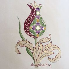 Spring tulip Shaded in shell gold, burnished then more shading applied with Kuretaki Gansai watercolours. China Painting, Ceramic Painting, Fabric Painting, Pattern Art, Pattern Images, Motifs Islamiques, Turkish Pattern, Persian Motifs, Islamic Patterns