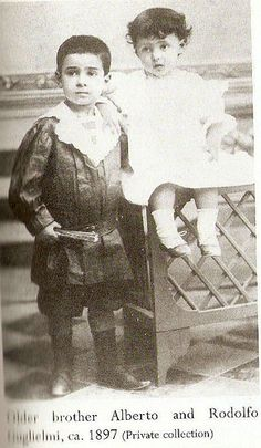 Rudolph Valentino and his older brother Alberto (left), circa. 1897. Photo from private collection.