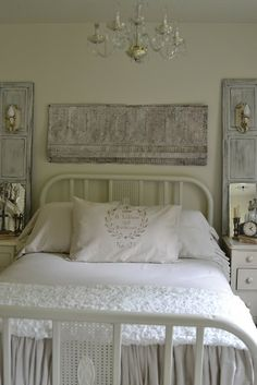 I love the old ceiling tiles and how simplistic and calming the color palette is, and I this style of iron bed as my first after marrying .