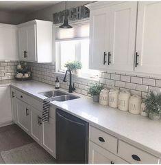 home decor kitchen cool 52 Cozy Color Kitchen Cabinet Decor Ideas Kitchen Cabinets Decor, Kitchen Cabinet Colors, Cabinet Decor, Farmhouse Kitchen Decor, Home Decor Kitchen, Home Kitchens, Kitchen Countertops, Cabinet Makeover, White Kitchen Decor