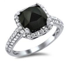 2.40ct Black Cushion Cut Diamond Engagement Ring 18k White Gold / Front Jewelers