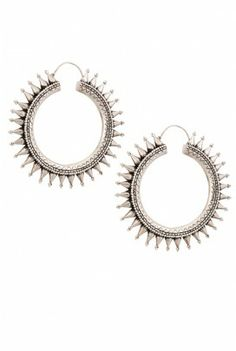 Chunky engraved hoop earrings with embellished spikes which lend to its strong tribal feel.