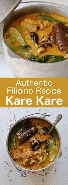 Kare kare is a delicious Filipino beef oxtail stew prepared with a thick peanut sauce, which is accompanied by a variety of sautéed vegetables.