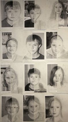These self-portrait drawings by graders were on display at the elementary school at the end of the school year, a nice tribute to the Self Portrait Drawing, Portrait Paintings, Drawing Art, Drawing Tips, Drawing Ideas, Portraits For Kids, 7th Grade Art, Drawing Projects, Art Projects