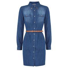 Buy Oasis Western Shirt Dress, Denim, 8 Online at johnlewis.com