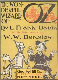 Portada de la primera edición de El Mago de Oz, ilustrada por William Wallace Denslow (1900).