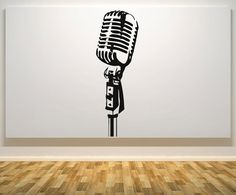 Microphone Music  Kitchen Bedroom Wall Art Sticker by JustStick