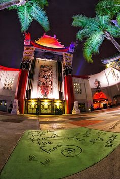 The Great Movie Ride at Disney's Hollywood Studios, Walt Disney World, FL...KERMITS signature is on the floor !!(: