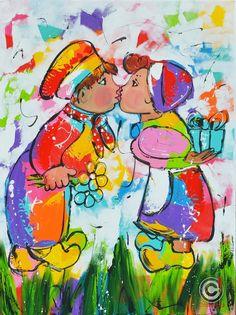 Dit is een: Acrylverf op doek, titel: 'Van harte gefeliciteerd' kunstwerk…