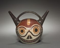 Jug from the Wari collection at the Cleveland Museum of Art, looks like a crazy cat!