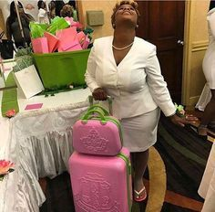Alpha Kappa Alpha Pink and Green Luggage with Carrying Case