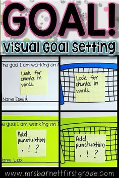 """Students need to know their goals in order to achieve them. Use this visual goal setting sheet as a great visual reminder for them. The use of a soccer net really """"hits home"""" the idea of achieving a goal! This resource can be used for a variety of subject Goal Setting Sheet, Goal Setting For Students, Teaching First Grade, First Grade Teachers, Classroom Behavior, Primary Classroom, Visible Learning, Writing Goals, Learning Goals"""
