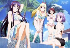 Together with friends at the pool being fun - Yamada-kun to 7-nin no Majo​
