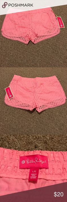 NWT Lilly for Target lace shorts NWT Lilly for Target lace shorts in pink. Size Large Lilly Pulitzer for Target Shorts