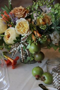 Summer fruit and garden rose centerpiece by Sarah Winward.