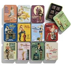 There are pin-up calendars, and then there are pin-up calendars filled with chocolate. From Danish design studio, Bessermachen, come these limited edition 1950s-inspired vintage belles, adorning tantalizing tins of Brandhouse chocolates.