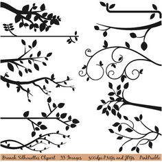 Branch Silhouettes Clipart Clip Art Tree Silhouettes by PinkPueblo, $6.00