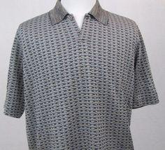 Jhane Barnes Shirt Large Golf Polo 100% Silk Abstract Chain Link Short Sleeves #JhaneBarnes #PoloRugby