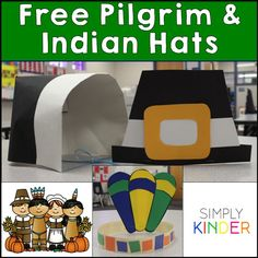 Classroom Thanksgiving Feast with Pilgrim and Indian Hats FREEBIES!  Love these cute fun crafts to complement the class feast!
