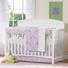 Aail Lavender Damask Perless Crib Bedding