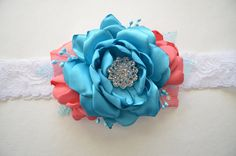 Teal and Coral Bridal Garter - Wedding Garter, Toss Garter, Turquoise, Coral Pink, Salmon, Choose Your Colors. $16.00, via Etsy.