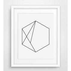Hexagon Art, Minimalist Geometric Print, Minimalist Wall Art, Hexagon... (33 DKK) ❤ liked on Polyvore featuring home, home decor, wall art, outdoor wall art, printable wall art, black & white wall art, geometric wall art and outside home decor