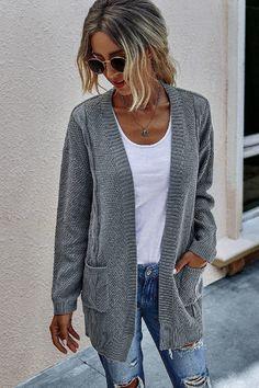 Cable Knit Cardigan, Open Cardigan, Sweater Cardigan, Winter Night Outfit, Cardigan Design, Stylish Clothes For Women, Cardigans For Women, Cardigan Sweaters For Women, Long Sweaters