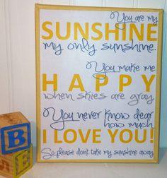 You are my sunshine art, boy girl room decor, nursery wall hanging. $19.99, via Etsy.